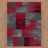 Dover Red Black Grey Beige Abstract Patchwork Modern Rug - 4
