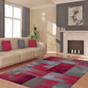 Dover Red Black Grey Beige Abstract Patchwork Modern Rug - 5