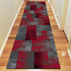 Dover Red Black Grey Beige Abstract Patchwork Modern Rug Runner