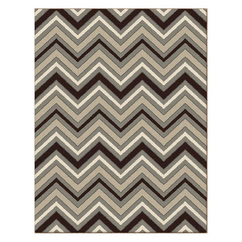 Dover Chevron Pattern Beige Black Grey White Modern Rug - 1