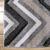 Dover Chevron Pattern Beige Black Grey White Modern Rug - 2