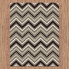 Dover Chevron Pattern Beige Black Grey White Modern Rug - 4