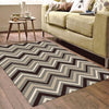 Dover Chevron Pattern Beige Black Grey White Modern Rug - 5