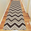 Dover Chevron Pattern Beige Black Grey White Modern Rug Runner