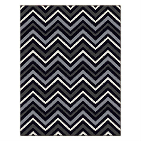Dover Chevron Pattern Black Grey White Modern Rug - 1