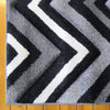 Dover Chevron Pattern Black Grey White Modern Rug - 2