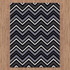 Dover Chevron Pattern Black Grey White Modern Rug - 4