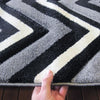 Dover Chevron Pattern Black Grey White Modern Rug - 6