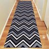 Dover Chevron Pattern Black Grey White Modern Rug Runner