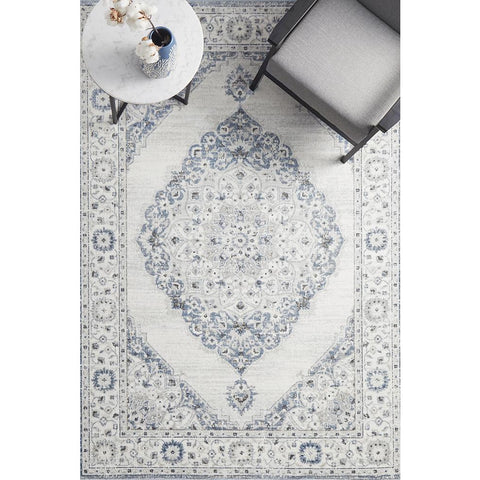Tomsk 1202 White Grey Blue Modern Patterned Rug - Rugs Of Beauty - 1