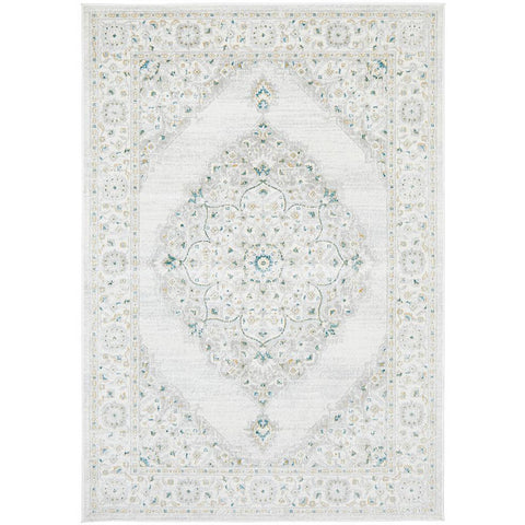 Tomsk 1202 White Grey Yellow Teal Transitional Patterned Rug - Rugs Of Beauty - 1