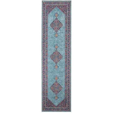 Menhit Blue Multi Coloured Transitional Patterned Runner Rug - Rugs Of Beauty - 1