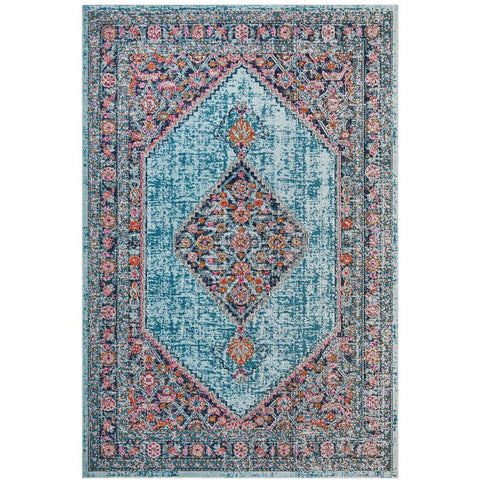 Menhit Blue Multi Coloured Transitional Patterned Rug - Rugs Of Beauty - 1