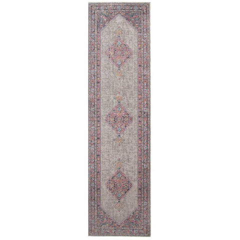 Menhit Grey Transitional Patterned Runner Rug - Rugs Of Beauty