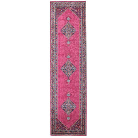 Menhit Pink Transitional Patterned Runner Rug - Rugs Of Beauty - 1