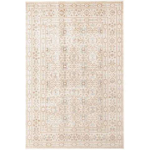 Menhit Bone Beige Transitional Patterned Rug - Rugs Of Beauty