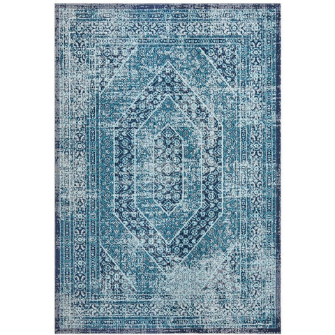 Menhit Blue Transitional Patterned Rug - Rugs Of Beauty - 1