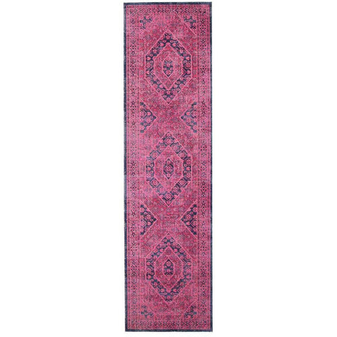 Menhit Magenta Navy Blue Transitional Patterned Runner Rug - Rugs Of Beauty - 1
