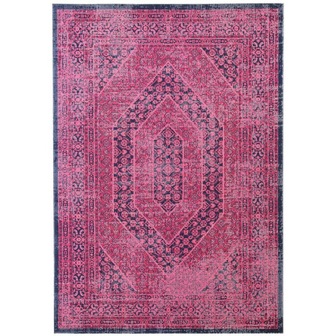 Menhit Magenta Navy Blue Transitional Patterned Rug - Rugs Of Beauty - 1
