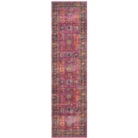 Menhit Pink Multi Coloured Transitional Patterned Runner Rug - Rugs Of Beauty - 1