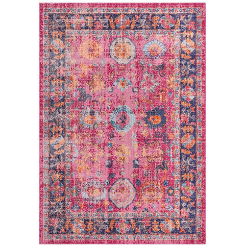 Menhit Pink Multi Coloured Transitional Patterned Rug - Rugs Of Beauty - 1