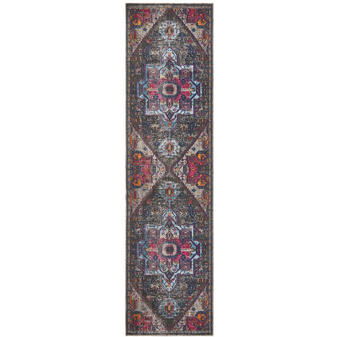 Menhit Grey Multi Coloured Transitional Patterned Runner Rug - Rugs Of Beauty - 1