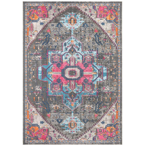Menhit Grey Multi Coloured Transitional Patterned Rug - Rugs Of Beauty - 1