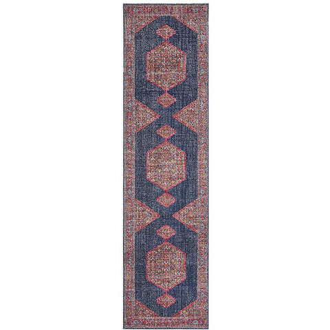 Menhit Navy Blue Multi Coloured Transitional Patterned Runner Rug - Rugs Of Beauty - 1