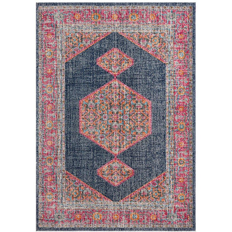 Menhit Navy Blue Multi Coloured Transitional Patterned Rug - Rugs Of Beauty - 1