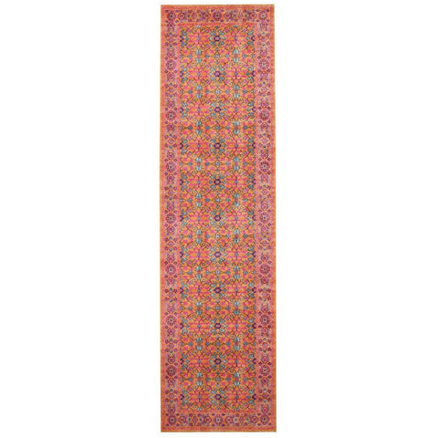 Menhit Rust Multi Coloured Transitional Patterned Runner Rug - Rugs Of Beauty - 1