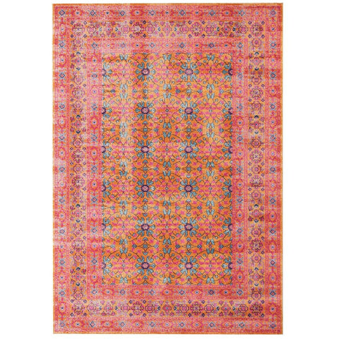 Menhit Rust Multi Coloured Transitional Patterned Rug - Rugs Of Beauty