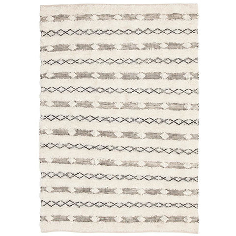 Zerzura 3750 Ivory Modern Wool and Cotton Flatweave Designer Rug - Rugs Of Beauty - 1