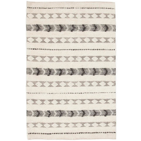 Zerzura 3752 Ivory Modern Wool and Cotton Flatweave Designer Rug - Rugs Of Beauty - 1
