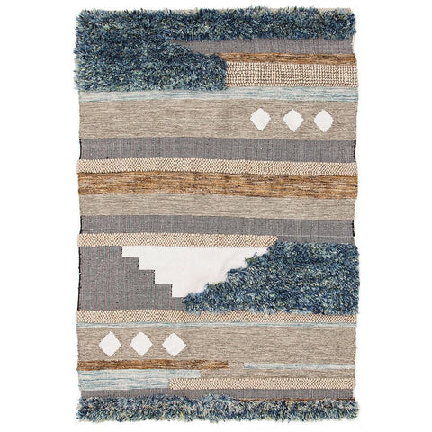 Zerzura 3760 Multi Coloured Modern Wool and Cotton Flatweave Designer Rug - Rugs Of Beauty - 1
