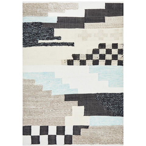 Zerzura 3763 Multi Coloured Modern Wool and Cotton Flatweave Designer Rug - Rugs Of Beauty - 1
