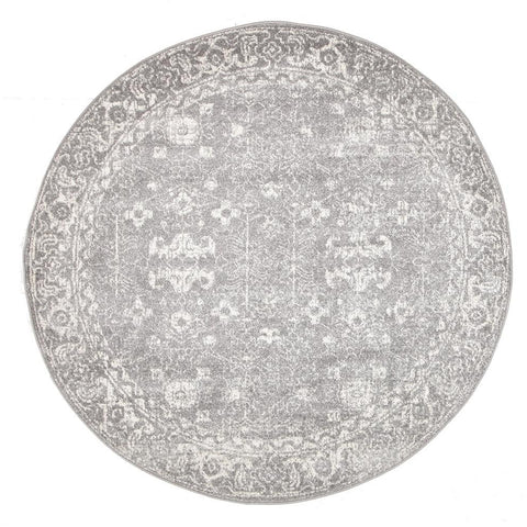 Lusaka Transitional Grey Round Designer Rug - Rugs Of Beauty - 1