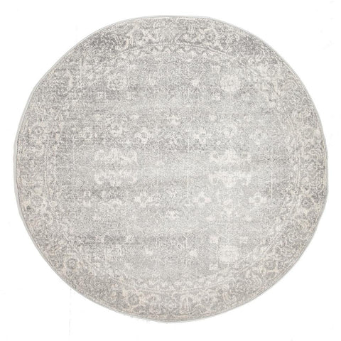 Palermo Transitional Silver Grey Round Designer Rug - Rugs Of Beauty - 1