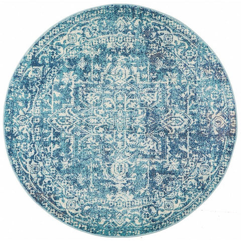 Madrid Transitional Blue Round Designer Rug - Rugs Of Beauty - 1