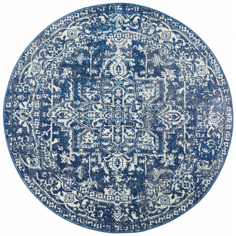Santiago Transitional Navy Blue Round Designer Rug - Rugs Of Beauty - 1