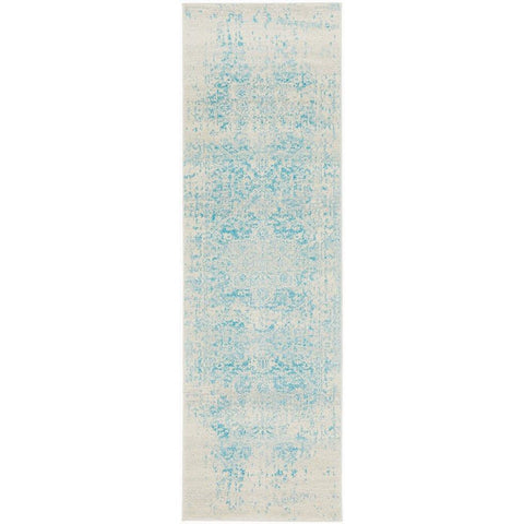 Kazan Transitional Beige Light Blue Designer Runner Rug - Rugs Of Beauty - 1