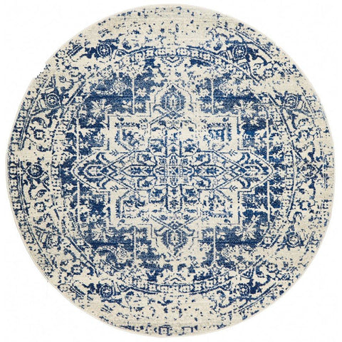 Slana Transitional White Navy Round Designer Rug - Rugs Of Beauty - 1