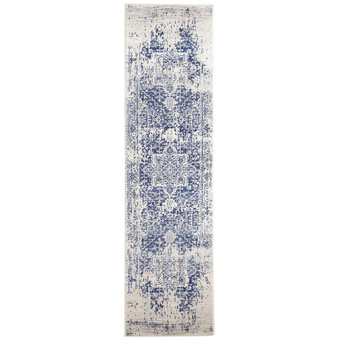 Slana Transitional White Navy Runner Designer Rug - Rugs Of Beauty - 1