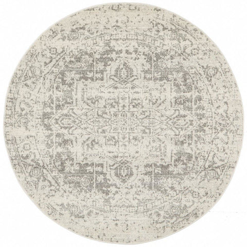 Cibola Transitional White Silver Round Designer Rug - Rugs Of Beauty - 1
