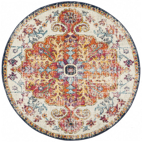 Murias Transitional Multi Coloured Round Designer Rug - Rugs Of Beauty - 1