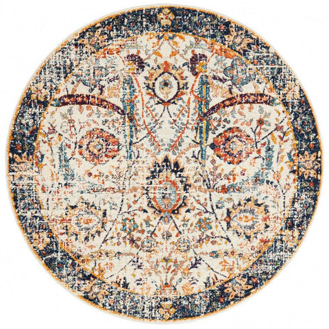 Jotunheim Ivory Multi Navy Border Transitional Round Designer Rug - Rugs Of Beauty - 1