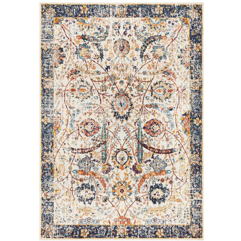Jotunheim Ivory Multi Navy Border Transitional Designer Rug - Rugs Of Beauty - 1