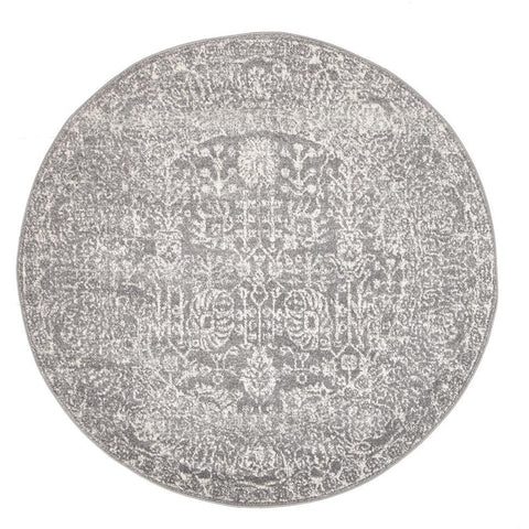 Zion Grey Transitional Patterned Round Designer Rug - Rugs Of Beauty - 1