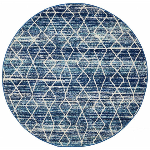 Camelot Transitional Blue Patterned Round Designer Rug - Rugs Of Beauty - 1