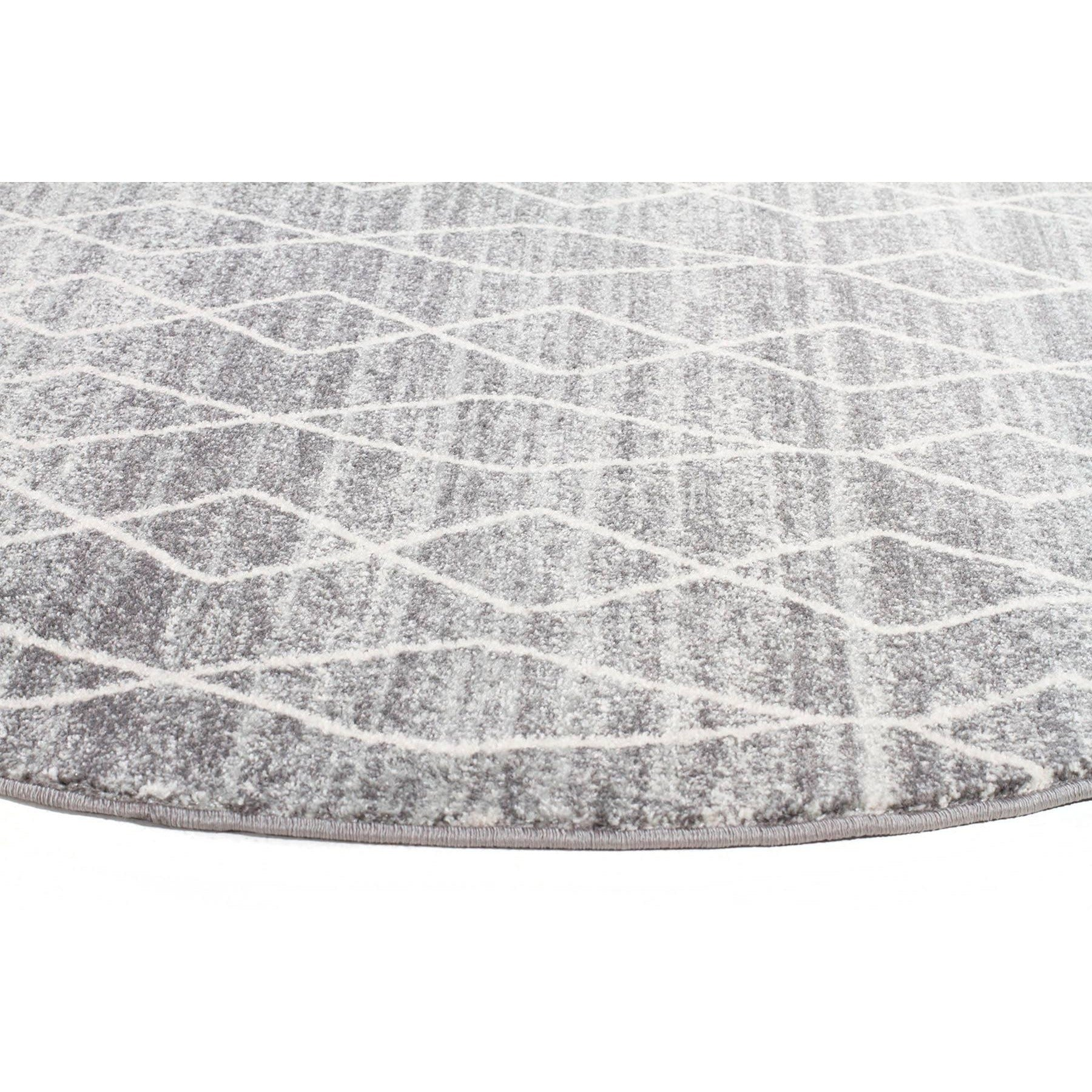 Amirtha Transitional Grey Patterned Round Designer Rug