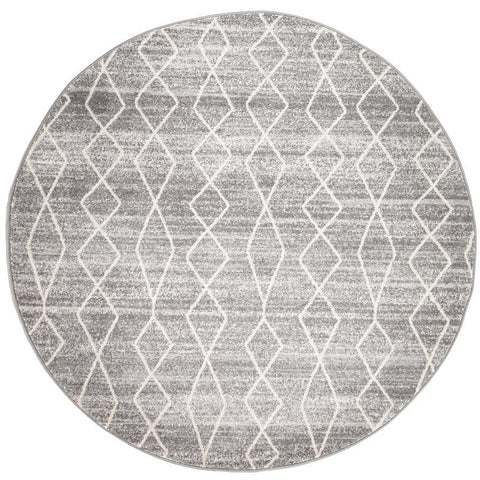 Amirtha Transitional Grey Patterned Round Designer Rug - Rugs Of Beauty - 1